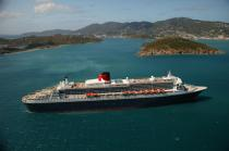 Le Queen Mary II aux Antilles. © Philip Plisson / Pêcheur d'Images / AA08700 - Photo Galleries - Queen Mary II [The]