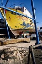 Restauration de bateaux aux Açores. © Philip Plisson / Pêcheur d'Images / AA08881 - Photo Galleries - Naval repairs