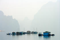 A village in the fog of Along Bay. © Philip Plisson / Pêcheur d'Images / AA12465 - Photo Galleries - Along Bay, Vietnam