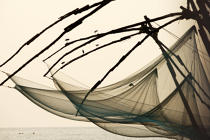 Chinese nets in front of Cochin. © Philip Plisson / Pêcheur d'Images / AA12612 - Photo Galleries - Inshore Fishing in Kerala, India