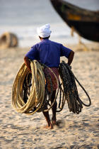 On the beach of Kovallam. © Philip Plisson / Pêcheur d'Images / AA12649 - Photo Galleries - Inshore Fishing in Kerala, India
