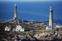 Cape Ann Twin Lighthouse in Massachusetts. © Philip Plisson / Pêcheur d'Images / AA13541 - Photo Galleries - American Lighthouses