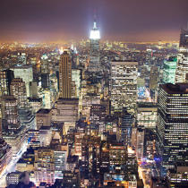 New-York by night. © Philip Plisson / Pêcheur d'Images / AA19823 - Photo Galleries - Urban