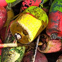 Buoys traps in Maine. © Philip Plisson / Pêcheur d'Images / AA24851 - Photo Galleries - Sea decoration