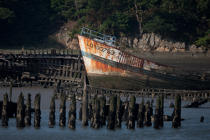 Wreck on the Blavet. © Philip Plisson / Pêcheur d'Images / AA26665 - Photo Galleries - From Bénodet to Etel