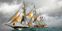 The Belem between Groix and Belle-Ile [AT] © Philip Plisson / Pêcheur d'Images / AA32747 - Photo Galleries - Maritim school aboard Belem tallship