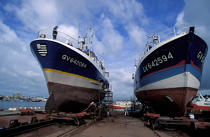 Fishing boats on the Sleepway Concarneau © Philip Plisson / Pêcheur d'Images / AA35467 - Photo Galleries - Naval repairs