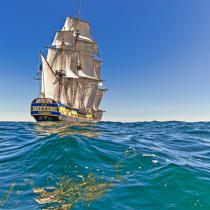 © Philip Plisson / Pêcheur d'Images / AA38641 L'Hermione at sea - Photo Galleries - Monohull