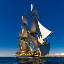 © Philip Plisson / Pêcheur d'Images / AA38649 L'Hermione at sea - Photo Galleries - Monohull