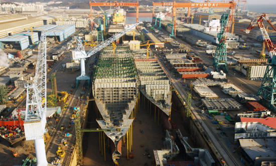 Reportage photo Plisson - Chantier Hyundai, le plus grand chantier maritime du monde.