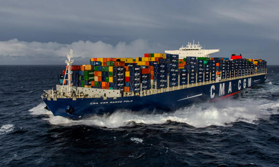 Reportage photo Plisson - Le CMA CGM Marco Polo